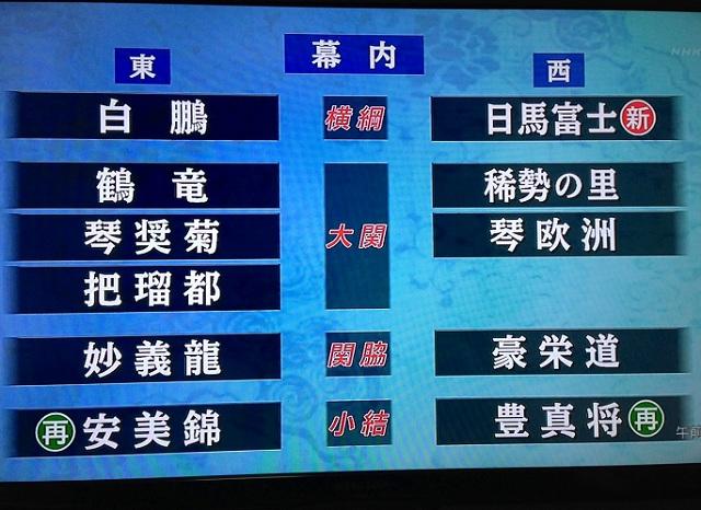 H24.11月 九州場所番付 東西関脇